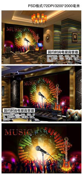 炫彩酒吧KTV音乐主题装饰背景墙