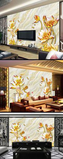 金色莲花大理石立体背景墙