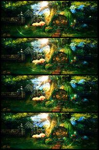 唯美梦幻绿色大树小木屋LED视频