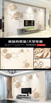 3d浮雕花纹欧式玫瑰电视背景墙壁画