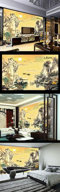 财源广进山水风景客厅沙发背景墙