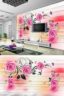 浪漫玫瑰花朵3D背景墙