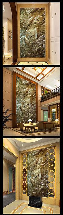 鲤鱼跳龙门高清写实浮雕玄关背景墙