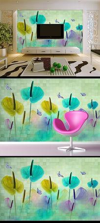 现代简约马蹄莲时尚家居电视背景墙