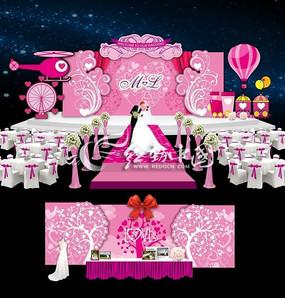 浪漫卡通粉色主题婚礼背景设计