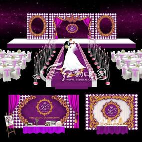 紫色主题婚礼背景展板设计