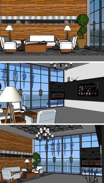 美式风格客厅草图大师SU模型