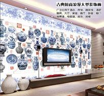 青花瓷图案电视背景