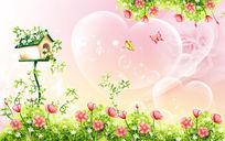 温馨草地鲜花树屋童话场景