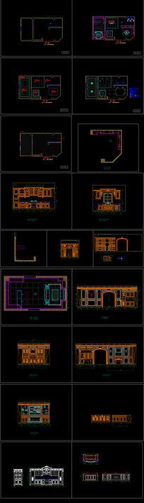 实木整装店面展厅装修CAD图纸