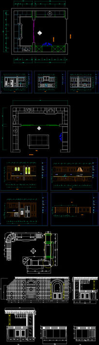 展厅用全套欧式实木橱柜实木酒窖精细CAD图纸