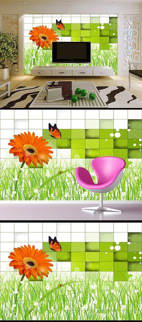 梦幻花草方格绿色3D电视背景墙
