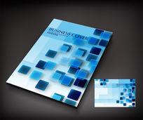 蓝色方块时尚商务杂志画册封面设计