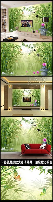 竹林小路清新3D电视背景墙