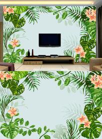 手绘芭蕉树文艺电视背景墙