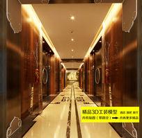 中式酒店会所过道3dmax装修效果图