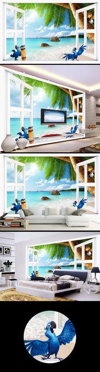 窗外海边卡通动物电视背景墙