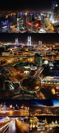 上海繁华夜景交通车流线