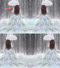 撑伞的梦幻雪中女孩背影高清背景视频