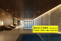 豪华会所室内游泳池3D模型