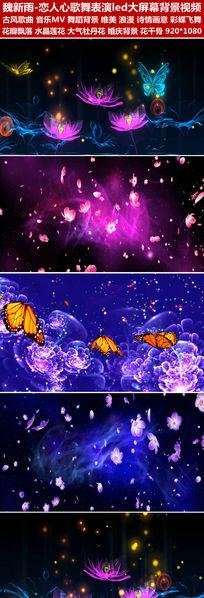 恋人心歌舞表演舞蹈演出背景led视频素材花瓣飞舞蝴蝶飞舞唯美梦幻