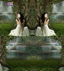 藤蔓树下的美丽女孩背景视频