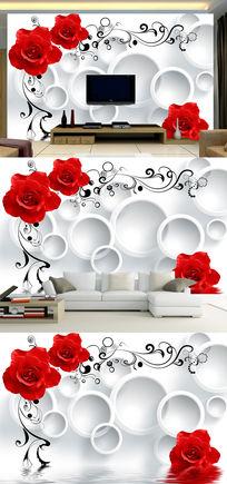 3D圈圈红玫瑰电视背景墙