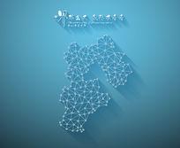 扁平化3D立体企业文化墙河北地图