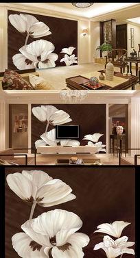 洁之恋梦幻花朵玄关电视沙发背景背景墙
