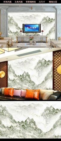 山水大理石纹中式背景墙