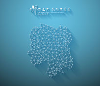 扁平化3D立体企业文化墙湖南地图展板