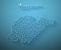 扁平化3D立体企业文化墙山东地图展板
