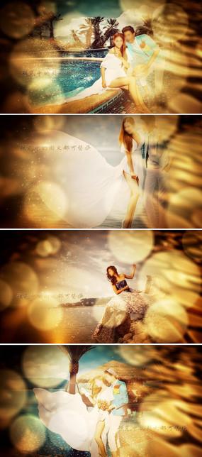 金色粒子浪漫婚礼幻灯片相册AE模板