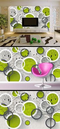 3D立体圆圈手绘抽象树电视背景墙