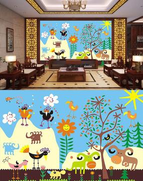 儿童卡通壁画背景墙