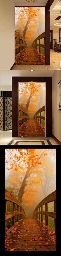 木桥枫叶林3D玄关过道背景墙
