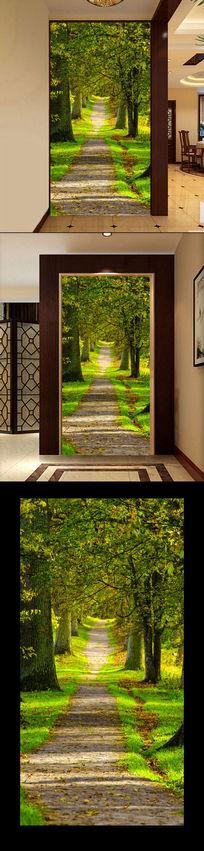 清新树林淡雅3D玄关过道背景墙