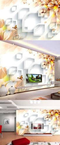 唯美梦幻花蝴蝶飞舞3D方框背景闪亮电视背景墙