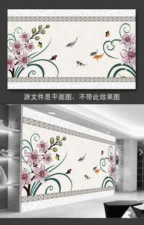水墨鱼花卉背景墙
