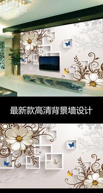 欧式梦幻花朵时尚3D立体方框电视背景墙