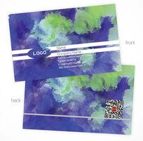 蓝色水彩渲染创意名片