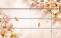 梦幻花蝴蝶飞软包背景高清电视背景墙