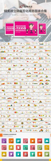 200张扁平化多彩商务PPT图表