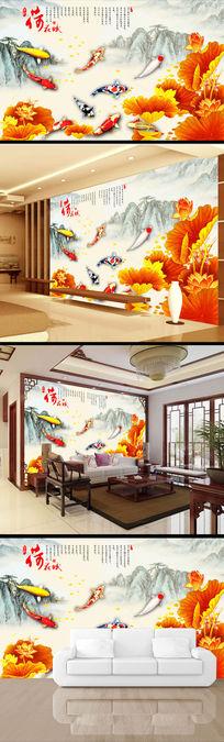 彩雕荷花荷叶水墨画山水画电视背景墙