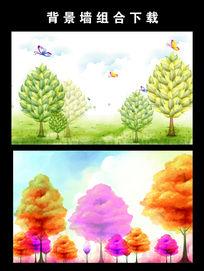 大树抽象大树电视背景墙图片设计下载
