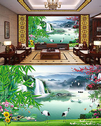 流水生财江山如画财源滚滚电视背景墙装饰画