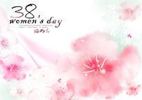 三八妇女节水彩花卉海报
