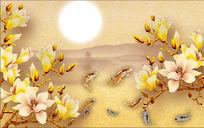 玉兰花玉雕背景墙图片