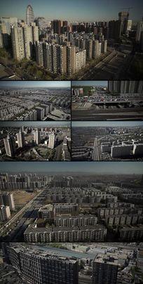航拍北京都市生活居民楼小区建筑群