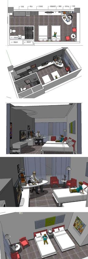 酒店标准间室内草图大师SU模型